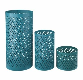 Signature Design by Ashley - Caelan - Teal Candle Holder (Set of 3) - A2000156C - Quickship
