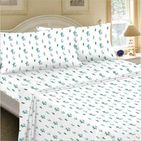 Mainstays 180 Thread Count Sheet Set, Cactus Pattern, Multicolor