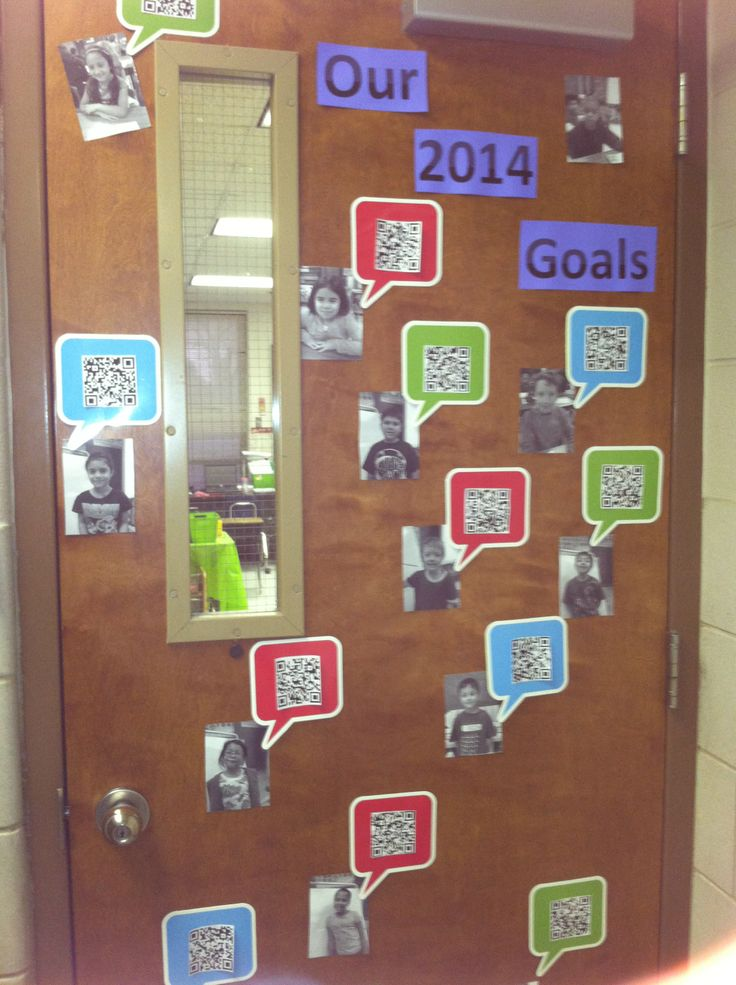 I used QR codes to record my students goals for our January door decorations.