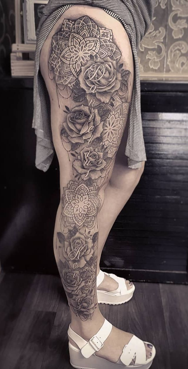 stunning floral mandala leg cuff © Dzeraldas tattoo artist Jerry Kudrevic
