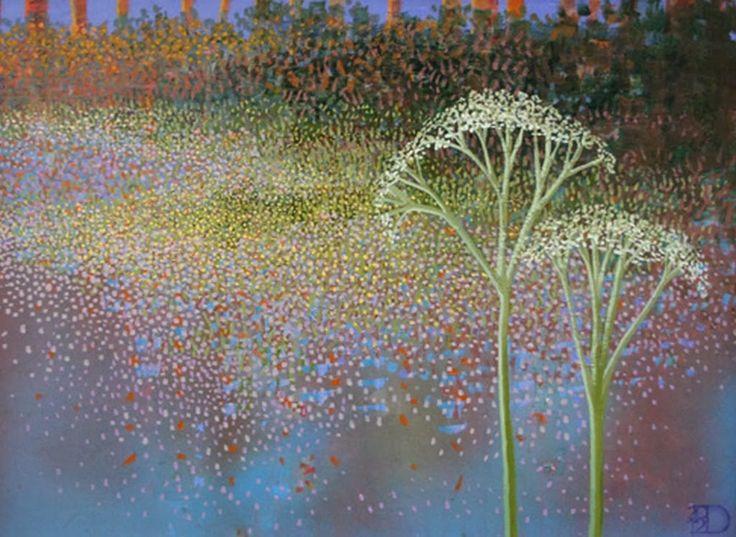 Pinturas Cuadros: Paisajes con Flores, Pinturas en Puntillismo al Óleo, Ton Dubbeldam, Países Bajos