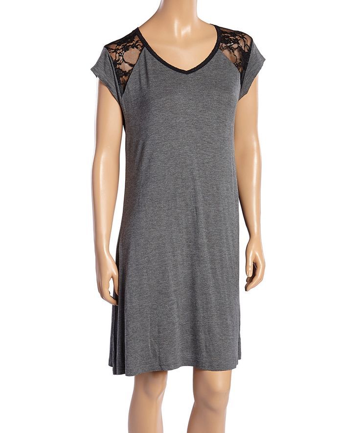 Another great find on #zulily! kathy ireland Heather Charcoal Lace Sleep Dress by kathy ireland #zulilyfinds
