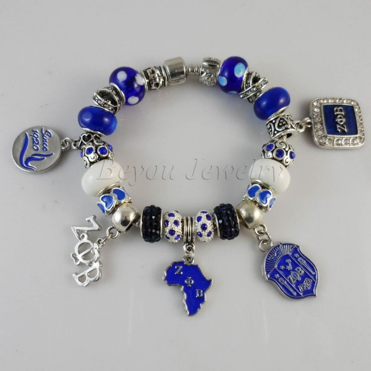 2015 Newest ZETA PHI BETA Sorority Bracelet ZPB charm bead bracelet bangle www.bernysjewels.com #bernysjewels #jewels #jewelry #nice #bags