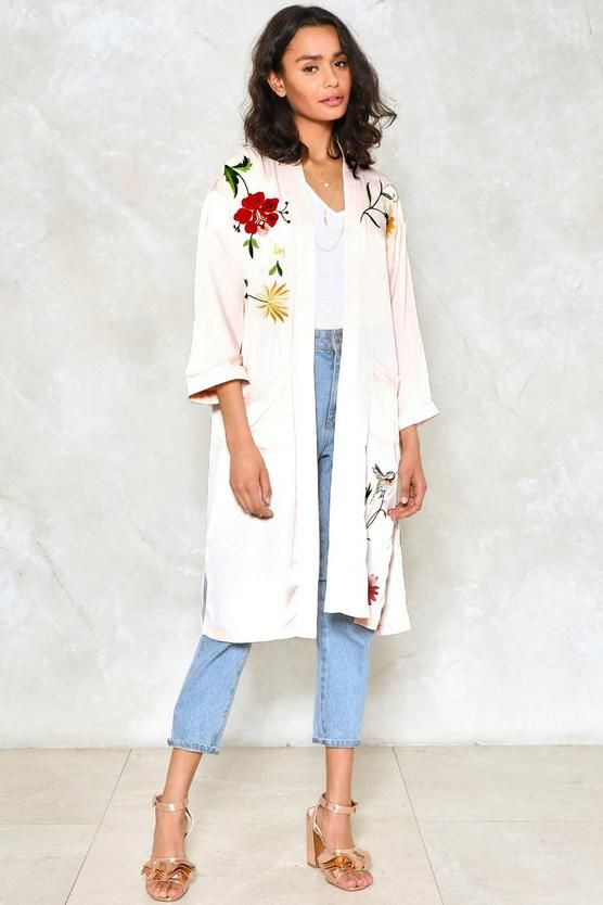 Listen to the Flower People Satin Kimono