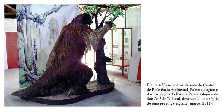 Réplica de uma preguiça gigante. Parque Paleontológico de São José de Itaboraí, Rio de Janeiro. O berço dos mamíferos no Brasil.
