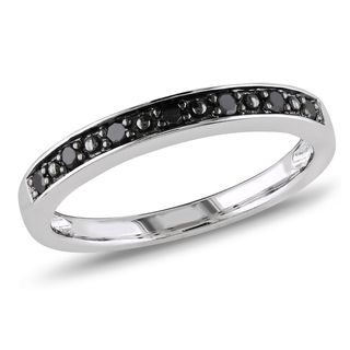 M by Miadora Sterling Silver Black Diamond Band sizes 4-11