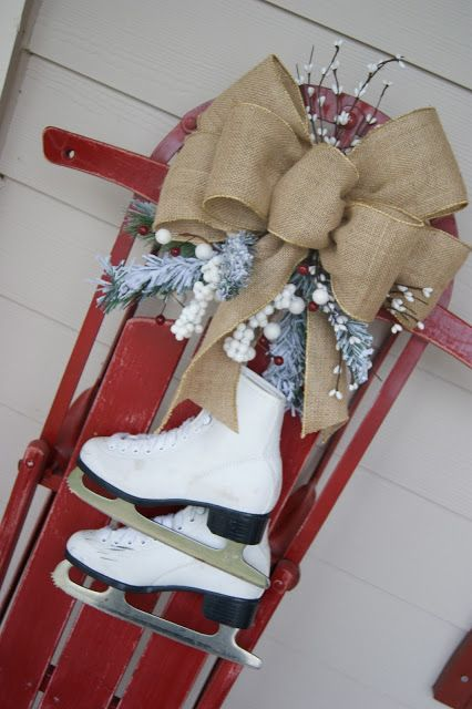 Christmas sled, Easy, Add Christmas Clear Lights and JOY Sign. Cute