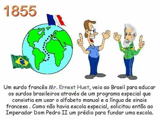 """No começo do ano de 1857, os surdos aprenderam LIBRAS. Quando se formavam no Instituto, os alunos regressavam às suas cidades e ensinavam-na. Assim, a LIBRAS foi se espalhando por todo o Brasil. Algumas escolas de surdos foram fundadas no Brasil, como o Instituto Santa Terezinha, em São Paulo, e o Centro de Audição e Linguagem """"Ludovico Pavoni"""" (CEAL/LP), em Brasília/DF."""