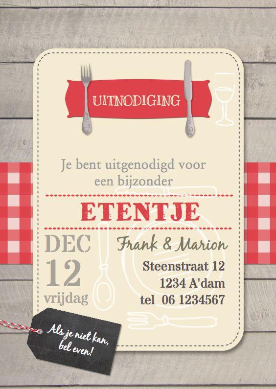 Bijzonder leuke en originele uitnodigingskaart voor een diner, etentje  met houten achtergrond, tafelkleed en kaart, leuk om te geven