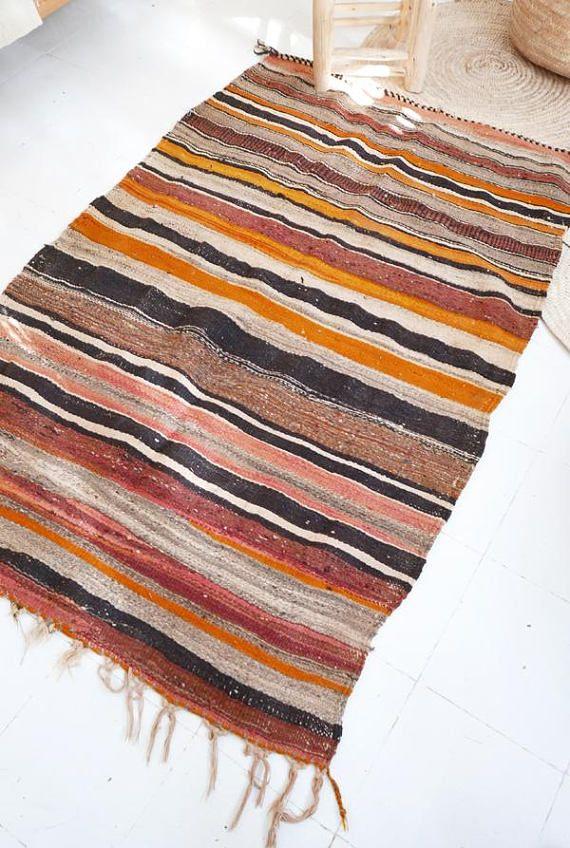 Vintage Moroccan Wool Kilim Rug Stripes