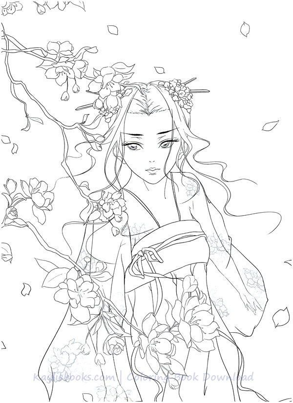 Download Classic Chinese Portrait Coloring Book Pdf Printable Hd People Coloring Pages Coloring Books Black Paper Drawing
