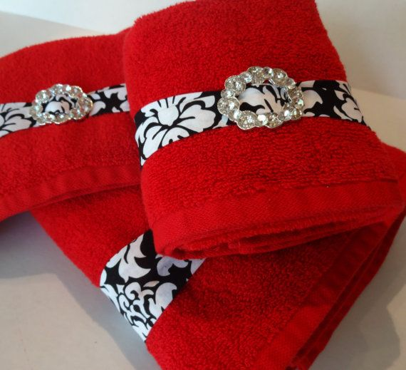 Red and Black Bling Towels, bathroom towels, red towels, red and black black damask by AugustAve, $24.00