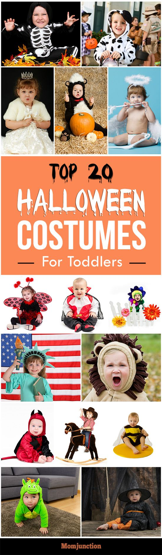 Top 20 Halloween Costumes For #Toddlers :your tot's favorite character to funny and goofy costumes, we have included everything here.
