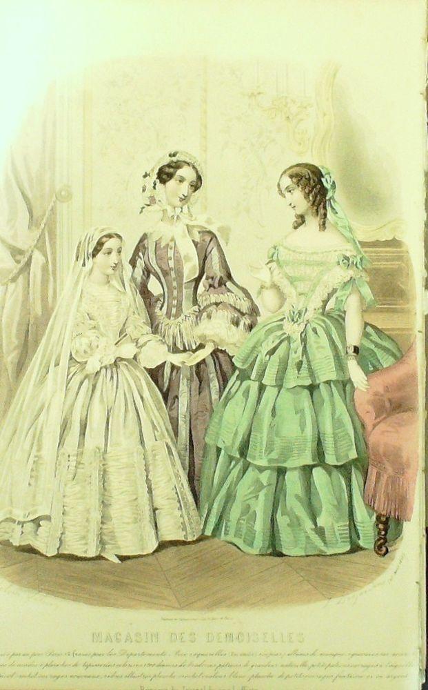 GRAVURE de MODE AUTHENTIQUE-M163-MAGASIN DEMOISELLES-ROBE DE CEREMONIE-1854