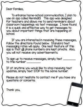 remind 101 parent letter editable parentingappsstudent