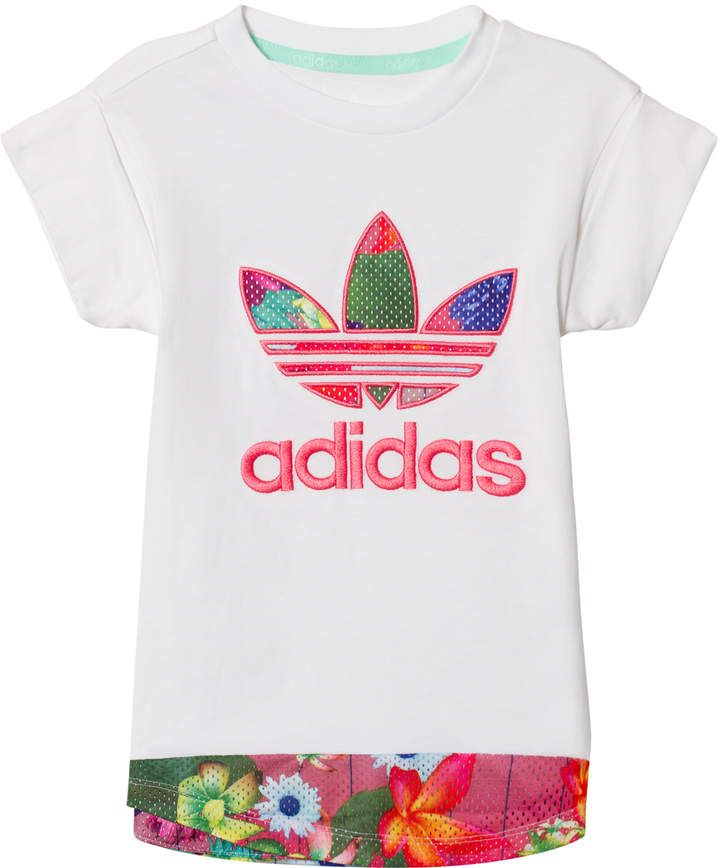 101ed5089b194 Adidas Originals White Flower Printed Logo Infants T-Shirt  babygirl ...