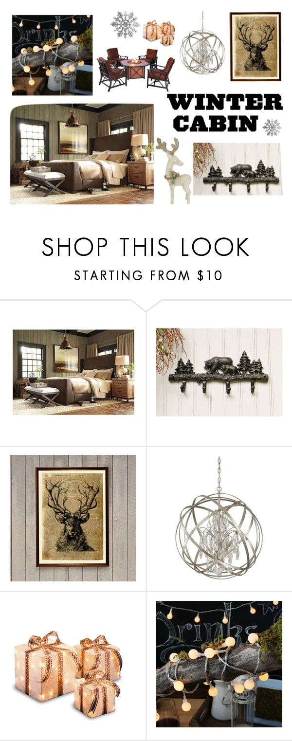 """Winter Cabin Runaway"" by anik01 ❤ liked on Polyvore featuring interior, interiors, interior design, home, home decor, interior decorating, Capital Lighting, contest and wintercabin"