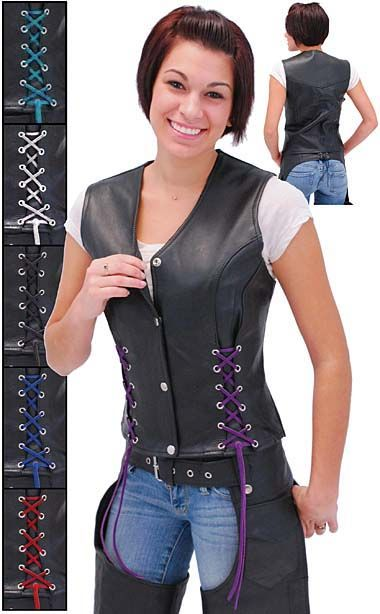 An attractive long body corset style leather motorcycle vest for women that is ideal for tall women and those who wear the low rise jeans. Four snaps up front on this long body vest with black rawhide leather lace, chrome hardware, two inside chest