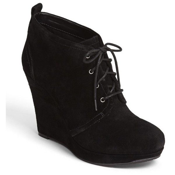 Jessica Simpson 'Catcher' Bootie (£45) ❤ liked on Polyvore featuring shoes, boots, ankle booties, heels, wedges, sapatos, suede ankle boots, chunky heel ankle booties, jessica simpson booties and chunky-heel ankle boots