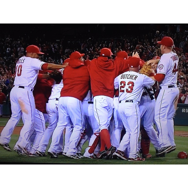 Angels win! Weavers pitches first career no-hitter. Let the celebration begin. #baseball #nohitter #angels