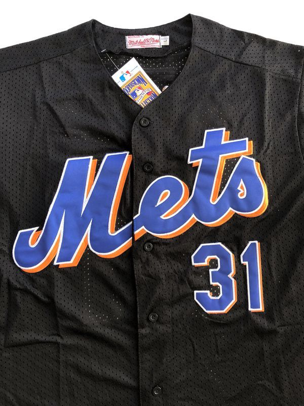 half off d1b85 4bd47 Mike Piazza NY Mets Throwback Jersey (Black) - Mens L for ...