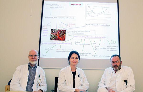 Avdelingsleder og professor Olav Mella, nasjonal prosjektkoordinator og sykepleier Kari Sørland og overlege og kreftforsker Øystein Fluge prøver å finne ut hva ME er, og hvordan sykdommen kan behandles. Deres hypotese er at det er en variant av en autoimmun sykdom som påvirker kroppen evne til å styre blodtilførselen.