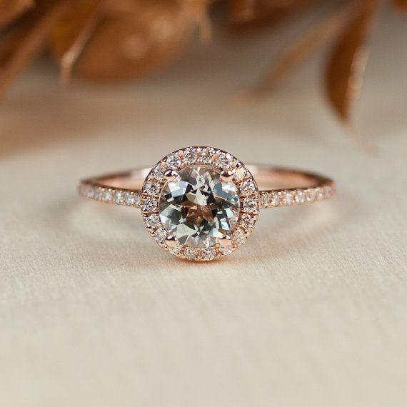 Aquamarine Rose Gold Ring Aquamarine Halo Ring by TrudyGems