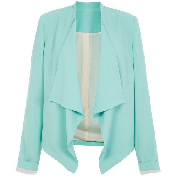 Mint Green Waterfall Blazer ($23) ❤ liked on Polyvore featuring outerwear, jackets, blazers, blazer, mint, tops, open front jacket, mint blazer, green cami and long sleeve cami
