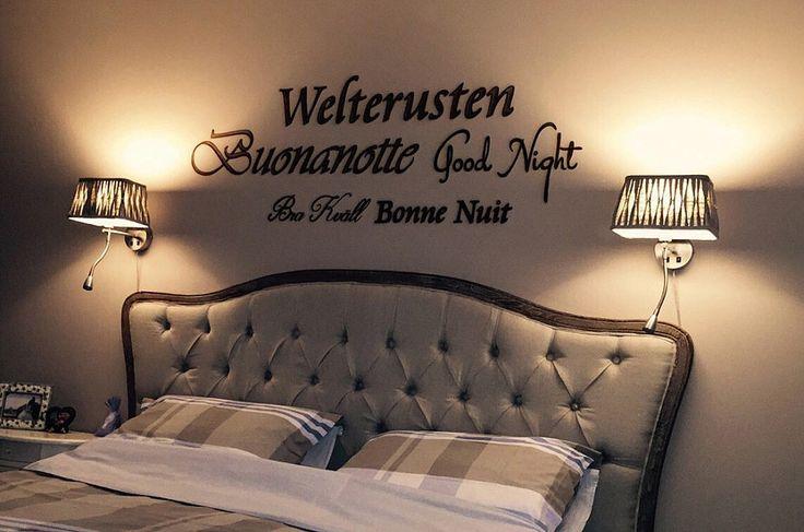 Muurtekst schildering: Welterusten, Buonanotte, Good Night, Bra Kvall, Bonne Nuit