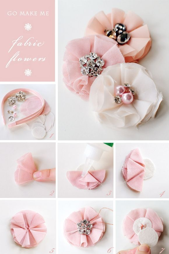 fabric embellished flowers tutorial diy: Hairbows, Flowers Headbands, Flowers Hair, Diy Headbands, Hair Bows, Hair Accessories, Hair Clip, Fabrics Flowers, Flowers Tutorials