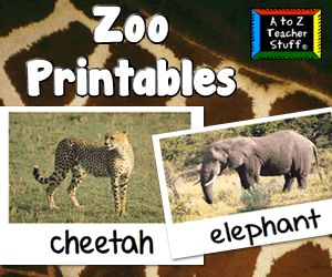 Zoo picture/photo cards and chart for graphing animals. {free}