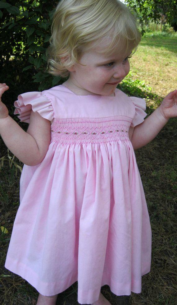 Vintage Look Hand Smocked Girls Pinafore Yoke Dress in Pink.
