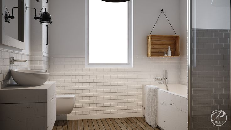 Dom w stylu skandynawskim Bathroom, ceramic tiles.   Progetti Architektura