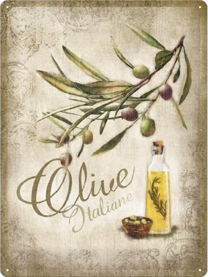 Olive italiane plaques vintages objets d co m tal vintage vendanges et plaques d coratives - Plaque en aluminium pour cuisine ...