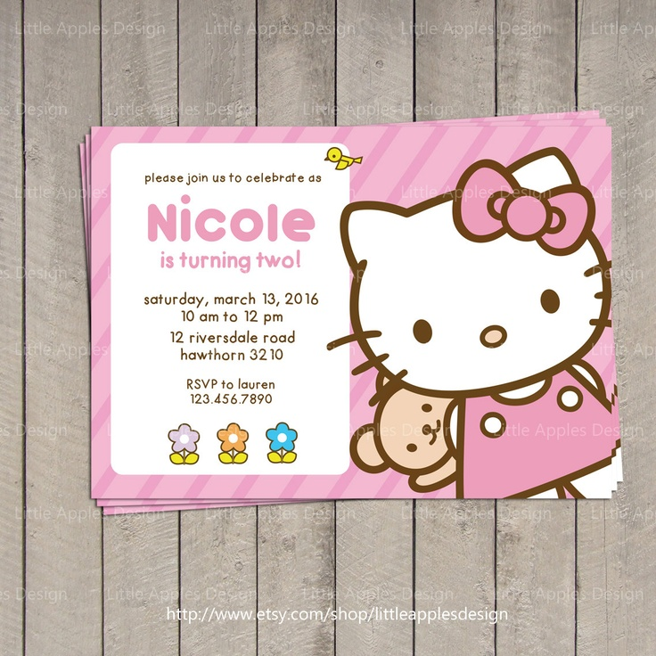 178 best invitation card images on pinterest search and searching hello kitty invitation hello kitty by littleapplesdesign on etsy stopboris Images