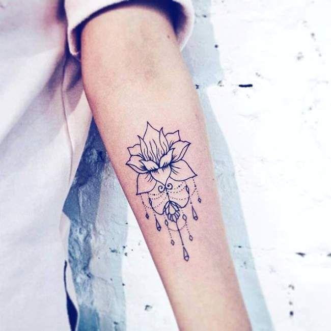 Tatouage avant bras femme mandala rose - Tatouage fleur noir ...