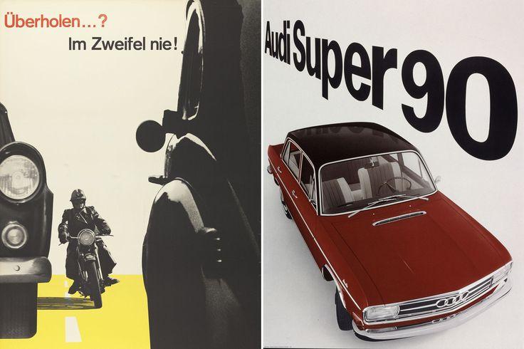 Left: Josef Müller-Brockmann, Überholen ...? Im Zweifel nie!, 1957, Museum für Gestaltung Zürich, Poster Collection. Right: Gredinger, Gerstner + Kutter, Audi Super 90, 1965, Museum für Gestaltung Zürich, Poster Collection
