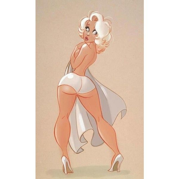 Curvy- girl pin up #illustration Pin-up ❤ liked on Polyvore featuring pictures, backgrounds, cartoons and quotes