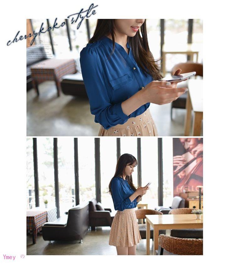 韩版小立领肩章女装长袖雪纺衬衣打底大码衬衫-淘宝网