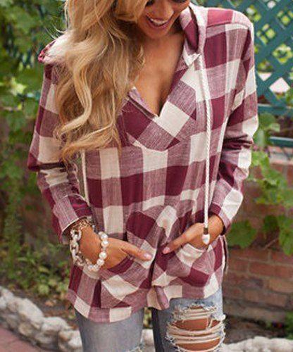Stylish Hooded Long Sleeve Gingham Slit Hoodie For Women