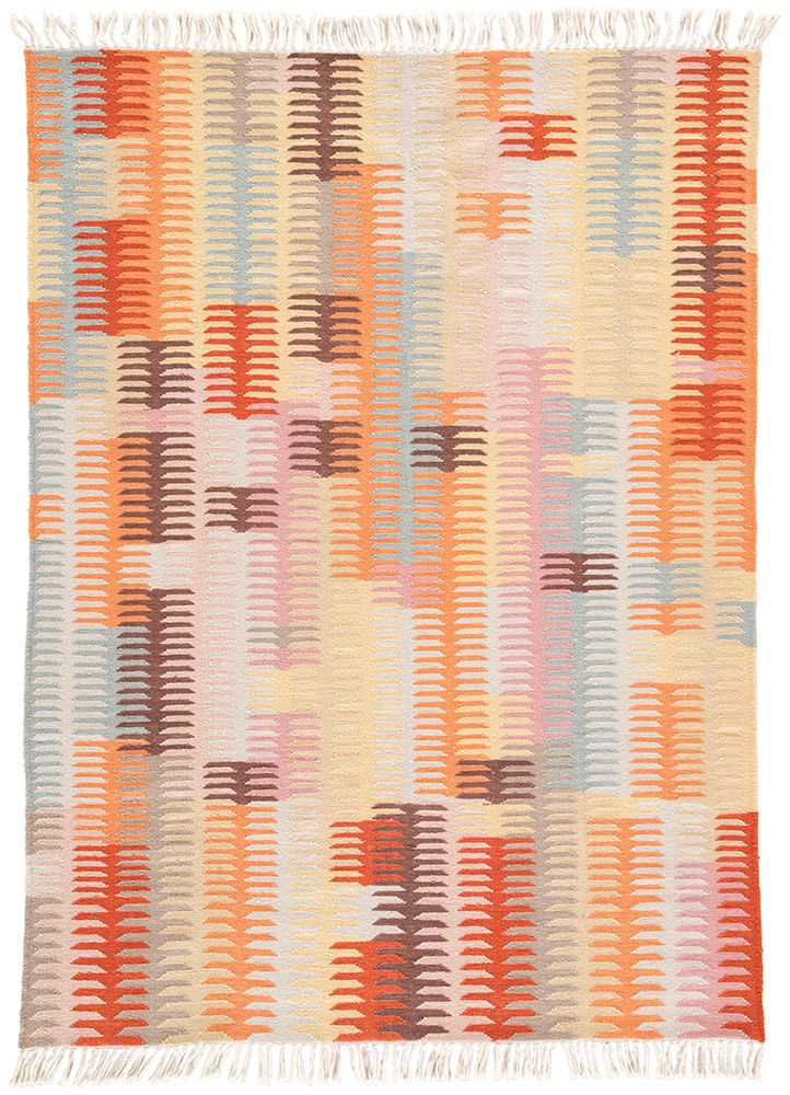 A geometric Southwestern design makes a boldly modern statement on the Desert Carver area rug. Constructed of weather-resistant polyester, this hand-loomed flatweave boasts incredible durability for both indoor and outdoor use. This multi-colored accent showcases bright sunset hues of orange, pink, and blue for a vivid addition to patios and chic living spaces.
