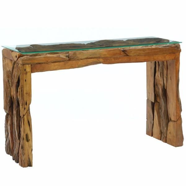 reclaimed teak root wooden console table