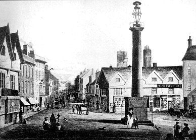 High Green - the market place until 1853, the forty foot gas light pillar commemorated the lighting of the town by gas in 1821, one year prior to this drawing. It was removed in 1840.