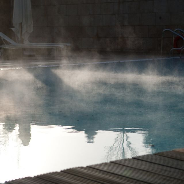 Early outdoor swims in December? (...don't worry, it's heated!) #CowleyManor #Cotswolds #VisitEngland #CountrysideEscape #Travel #SpaHoliday