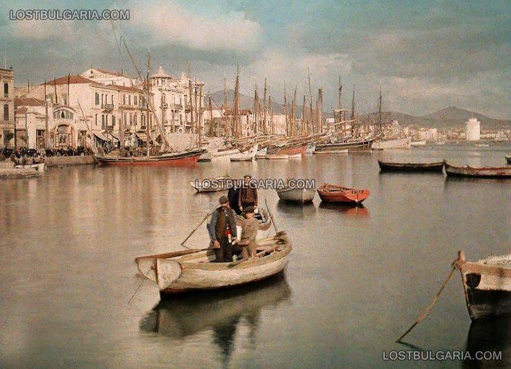 Thessaloniki, fishing boats on the harbor entrance, 1913