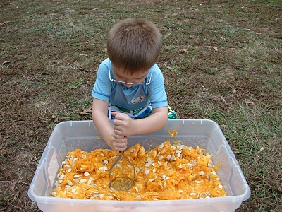 Pumpkin Messy Play! Pinned by The Sensory Spectrum.