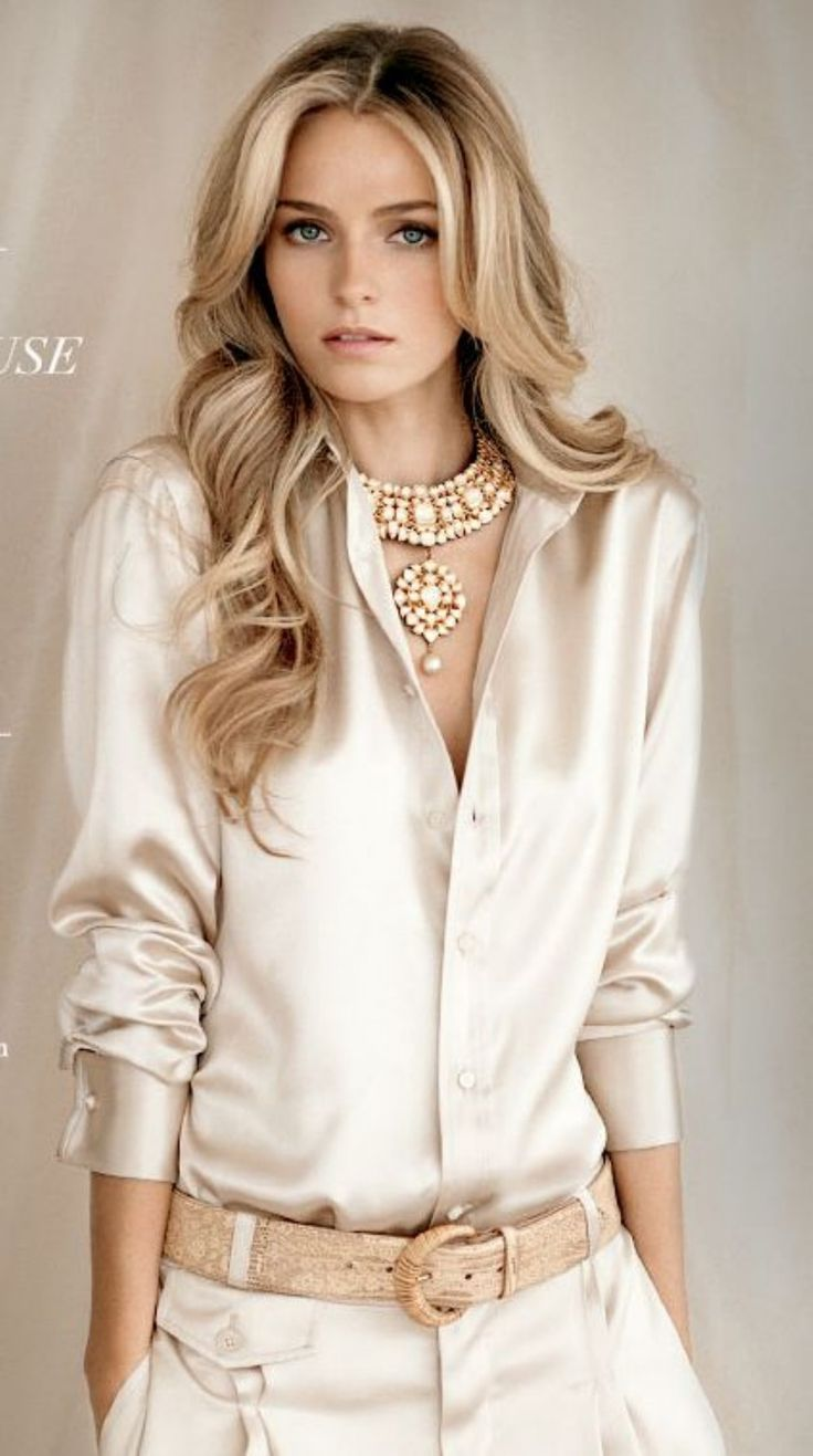 Elegant yet simple satin blouse outfit ideas (1)