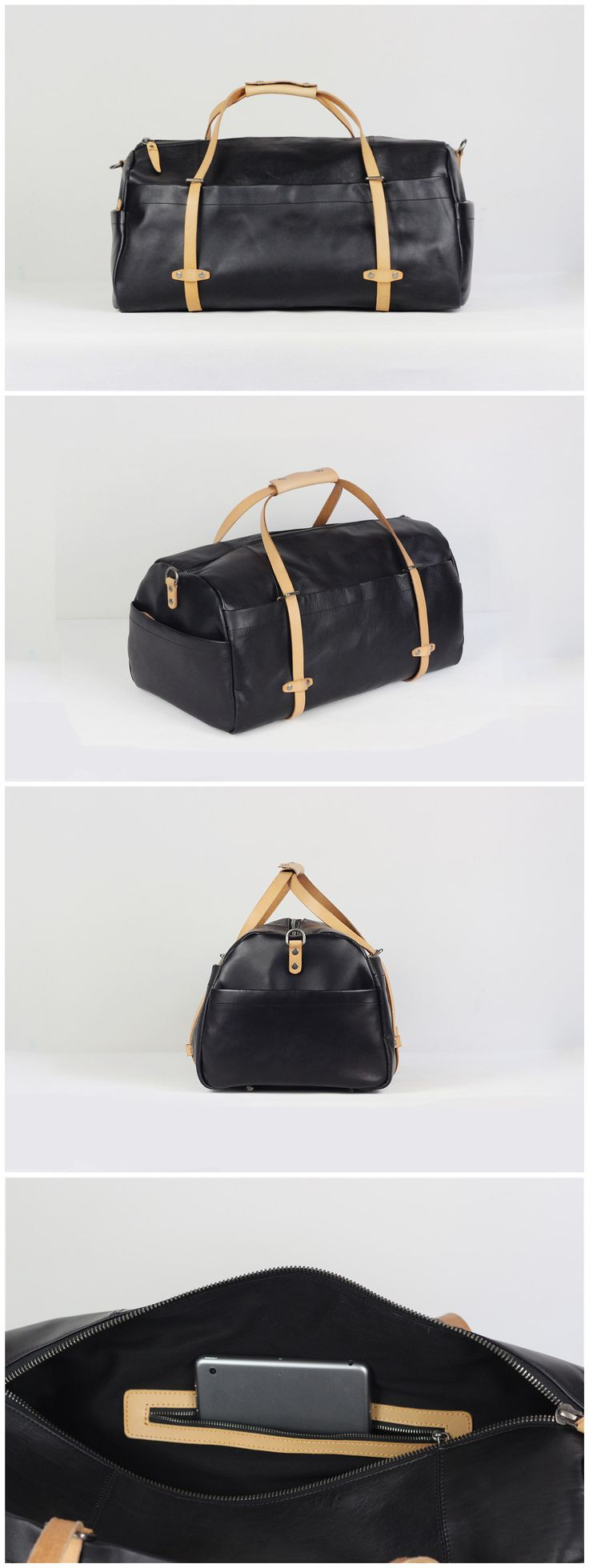 Handmade Full Grain Leather Holdall Luggage Bag Leather Travel Duffel Bag