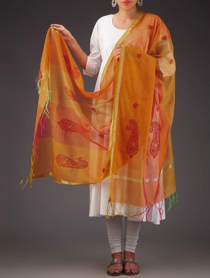 Chikankari Chanderi Silk Dupatta