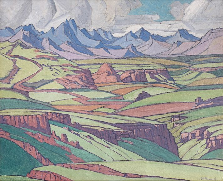 JH Pierneef, Maloti Mountains, 1920s/30s. Love his use of colour in this one.
